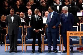 Left to right: Louis Farrakhan, Al Sharpton, Jesse Jackson, Bill Clinton
