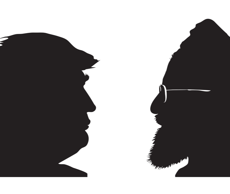donald trump faces off against Hassan Rouhani