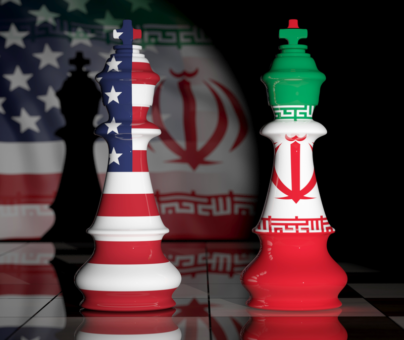 iran america as flag-patterned chess pieces
