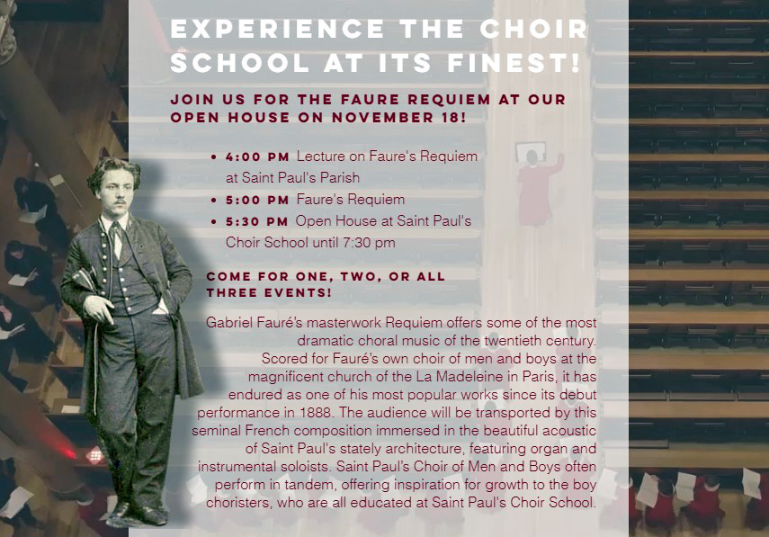 The Choir of Men and Boys of St. Paul's Present Faure's Requiem, Lecture, Open House