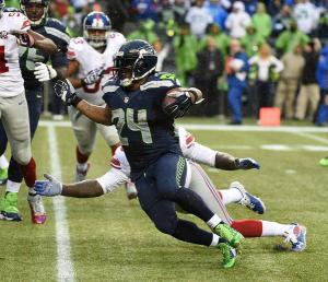 Lynch destruiu a defesa dos Giants