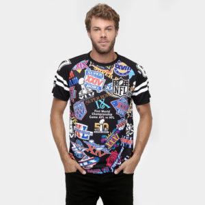 Camisa com as logos dos Super Bowls