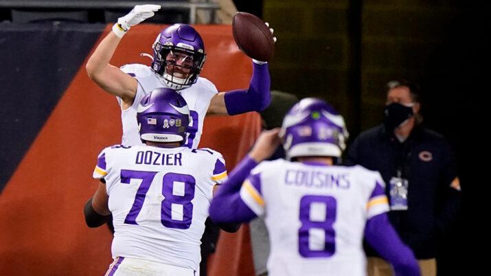 Os Vikings venceram com dois passes para TD de Kirk Cousins para Adam Thielen