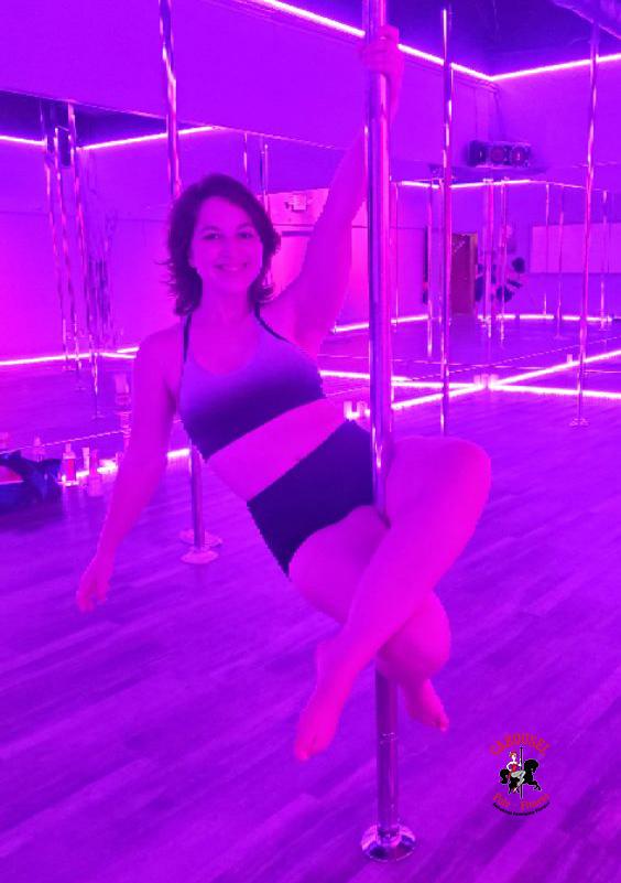 August 2021 winner Abby R doing a Pole Sit