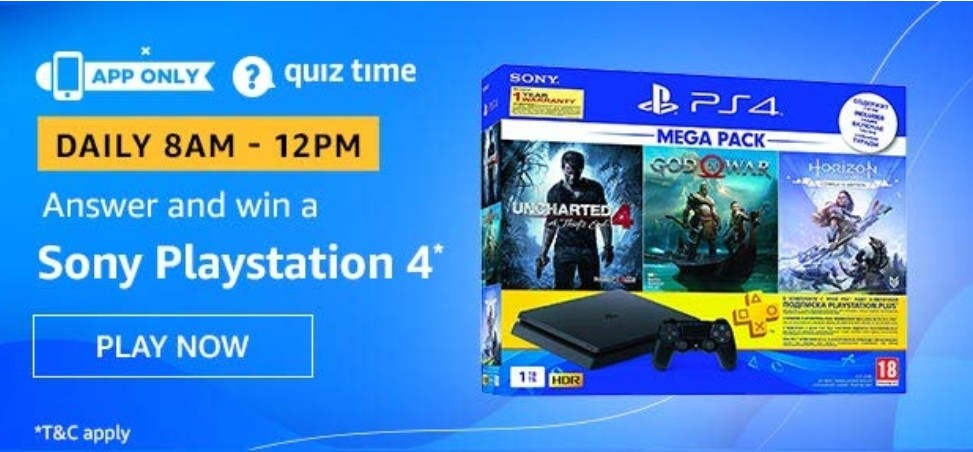 Amazon Quiz Answers 15 May 2020 – Win Sony Playstation 4