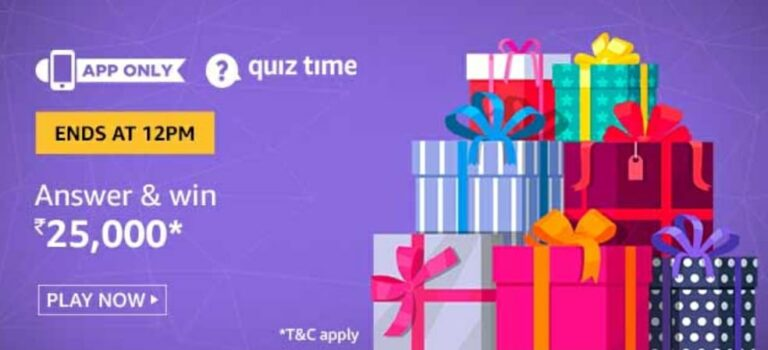 Amazon Quiz Answers 25 May 2020 – Win 25,000 Rs Pay Balance