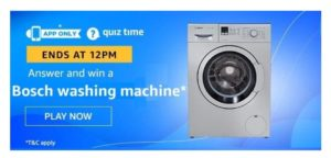 Amazon Quiz Answers 30 May 2020 – Win Bosch Washing Machine