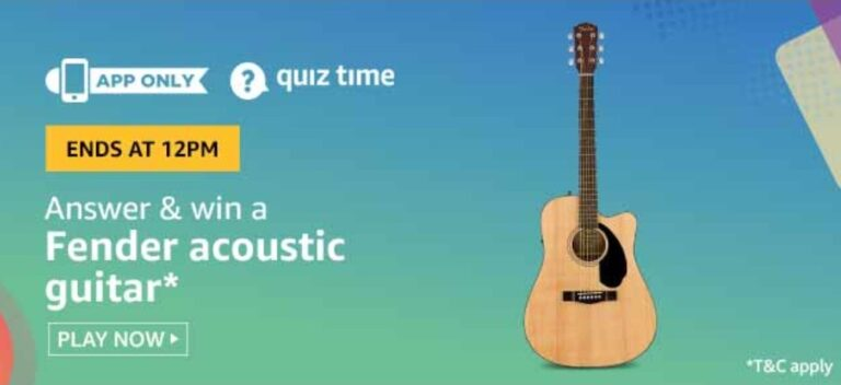 Amazon Quiz Answers 6 June 2020 – Win Fender Acoustic Guitar