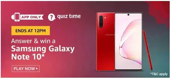 Amazon Quiz Answers 7 June 2020 – Win Samsung Galaxy Note 10