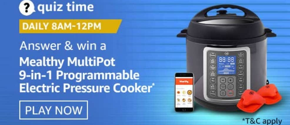 Amazon Quiz Answers 26 January 2021- Win Mealthy Cooker