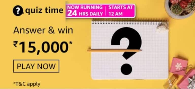 Amazon Quiz Answers 19 February 2021- Win Rs. 15000