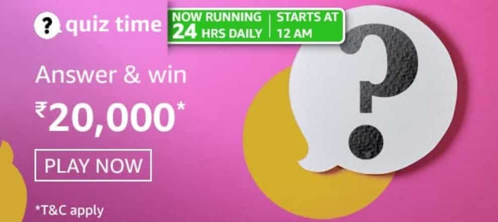 Amazon Quiz Answers 22 February 2021- Win Rs. 20,000