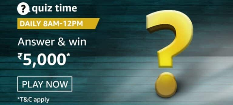 Amazon Quiz Answers 24 February 2021- Win Rs. 5000