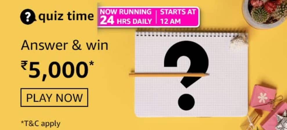 Amazon Quiz Answers 29 March 2021- Win Rs. 5000