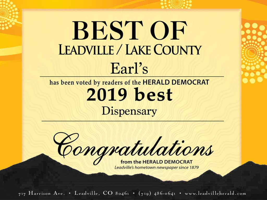 Earl's Leadville 2019 Winner Best Dispensary Lake County Colorado