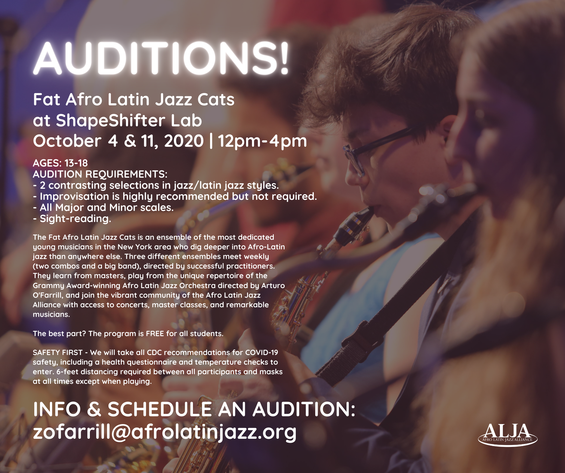 Auditions for the Fat Afro Latin Jazz CatsShapeShifter Lab, BrooklynSunday, October 4 & 11, 2020