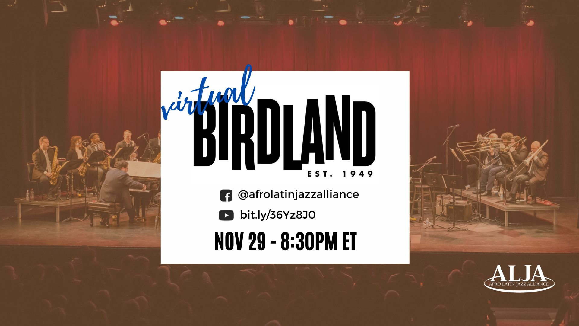 Virtual Birdland's Sunday NightArturo O'Farrill + the Afro Latin Jazz OrchestraSun., Nov. 29  • 8:30 pm EST–Live on YouTube & Facebook–