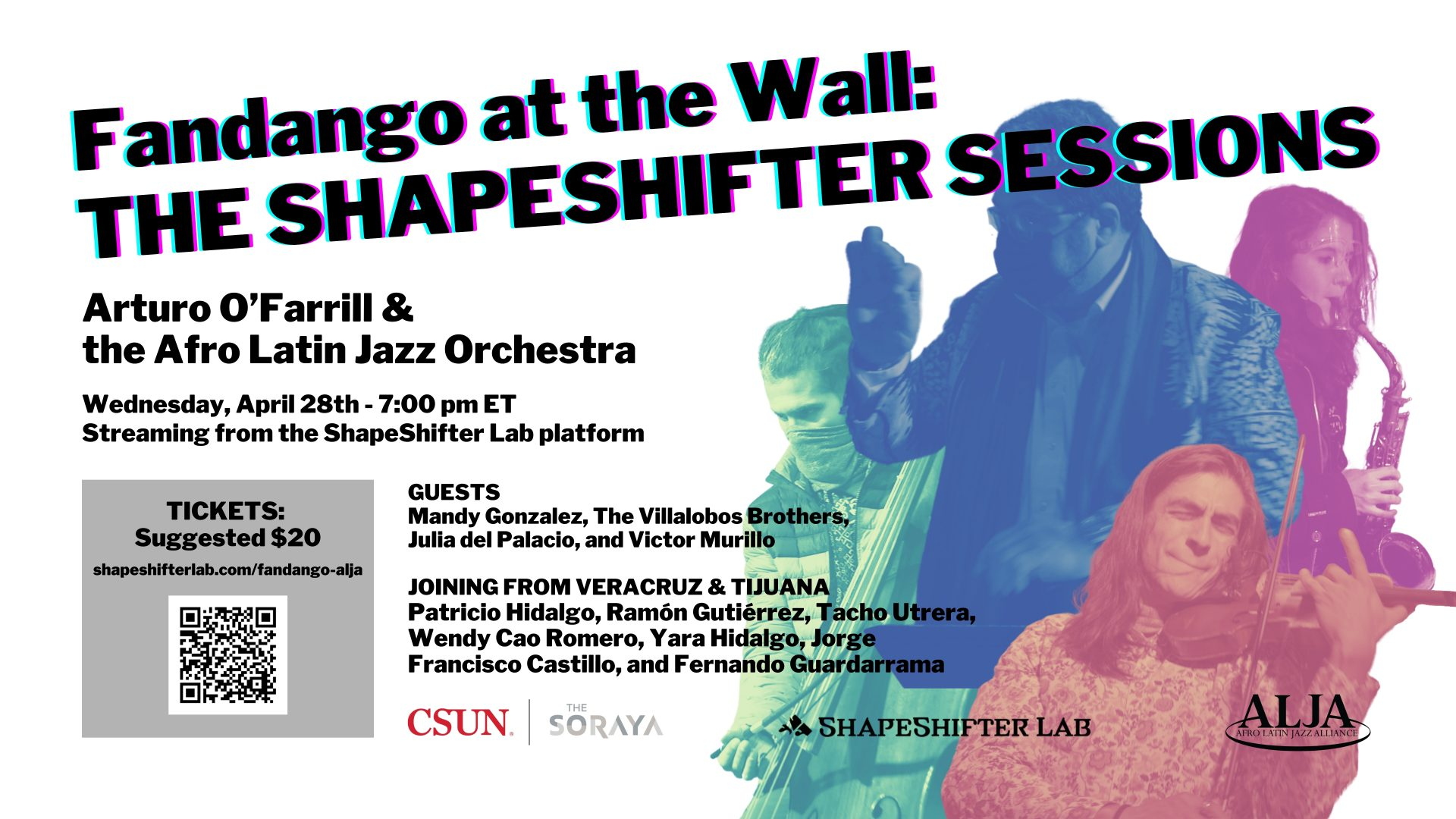 Fandango at the WallThe ShapeShifter SessionsArturo O'Farrill + Afro Latin Jazz Orchestra + FriendsWEDNESDAY, APRIL 28, 2021 @ 7:00 pm EST | 6:00 pm CST | 4:00 pm PST