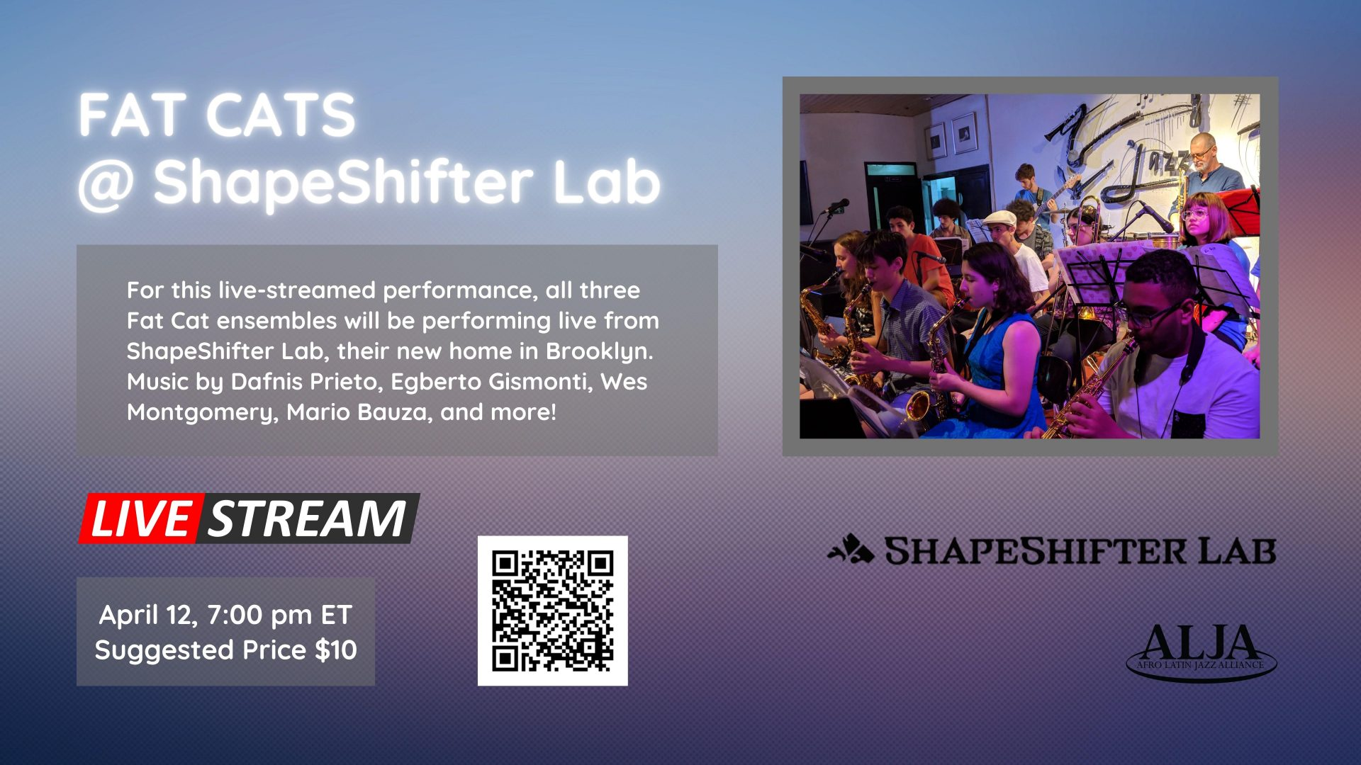 Fat Afro Latin Jazz Cats @ ShapeShifter Lab, BrooklynMONDAY, APRIL 12, 2021 @ 7:00 pm EST | 6:00 pm CST | 4:00 pm PST