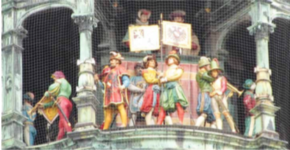 The world-famous antique clock: Rauthaus-Glockenspiel