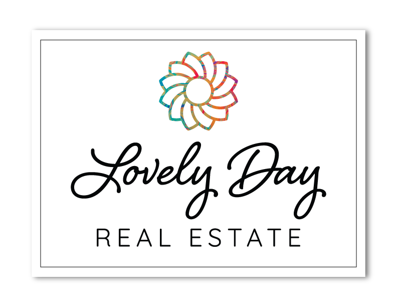 A logo consisting of a multi-colored stylized flower above black text that reads Lovely Day Real Estate, a Granbury real estate firm.