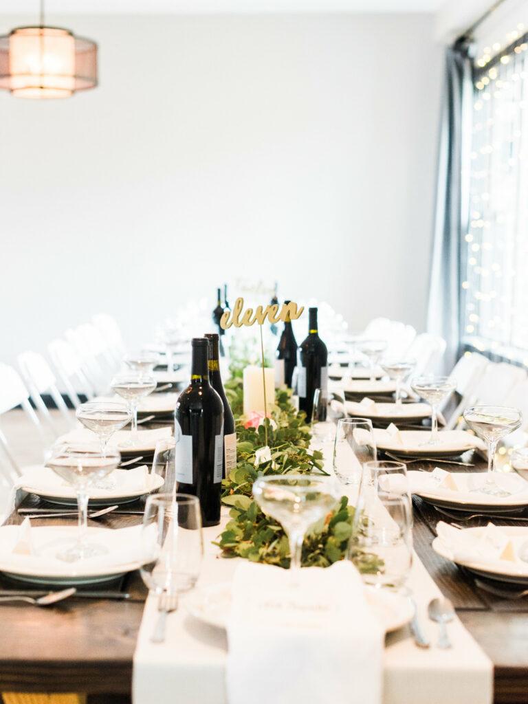 wedding reception eucalyptus garland