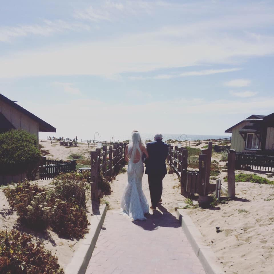 beach wedding path to ceremony
