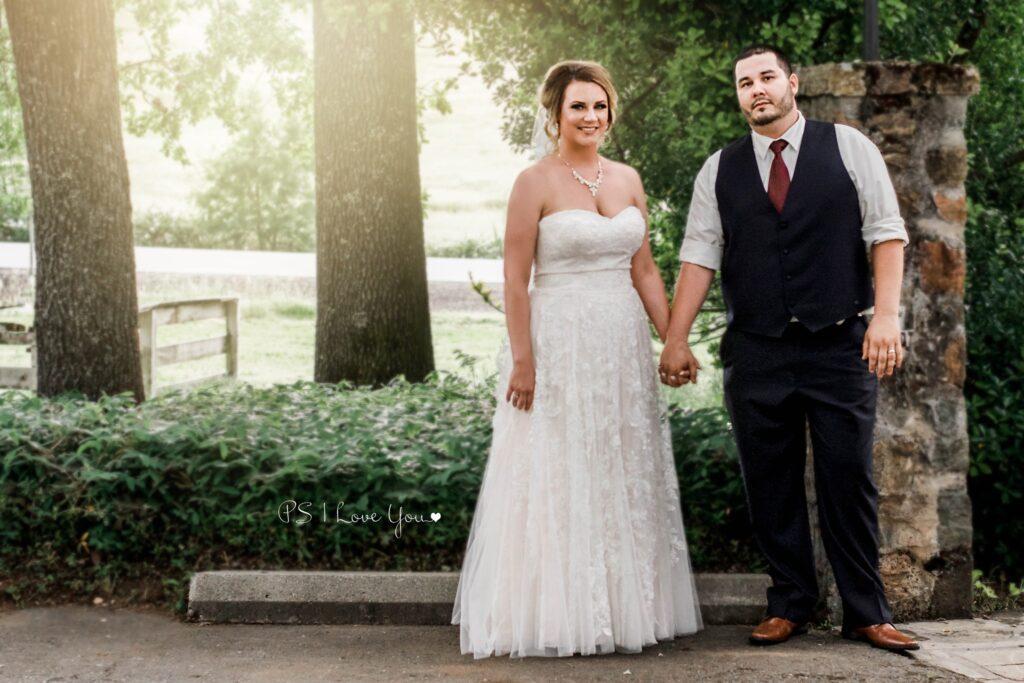 bride and groom at ourdoor wedding