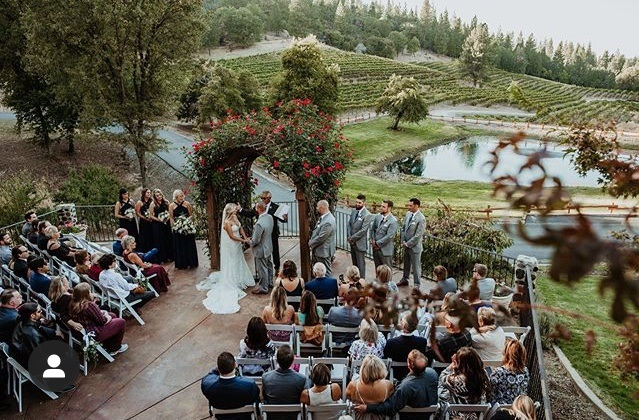 wedding ceremony at california winery