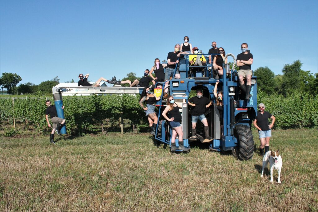 group of winemakers posing on a grape harvester