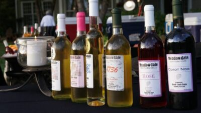 selection of wines from Meadowdale Farm Winery
