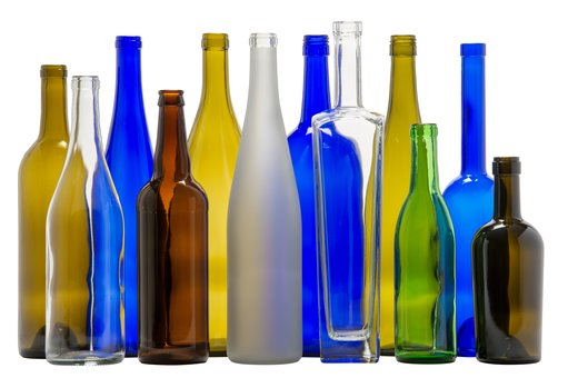 multi-colored wine bottles on white background