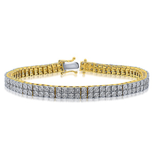 "925 SS 0.25-0.46CT D-BRACELET MEN RDS FANUC ""2 ROW"""