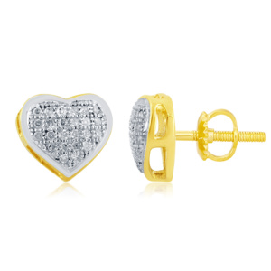 "10K 0.15CT D-EARRINGS LDS RDS MP "" HEART DOME"""