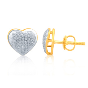 "10K 0.30CT D-EARRINGS LDS RDS MP "" HEART DOME"""
