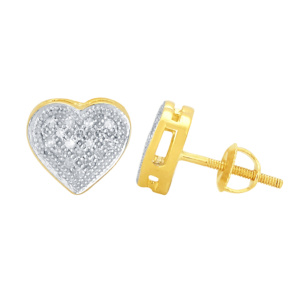 10K 0.10CT D-EARRING RDS LDS MP HEART