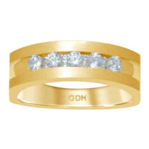 14K 0.48-0.51CT D-MACHINE BAND RING MENS RDS