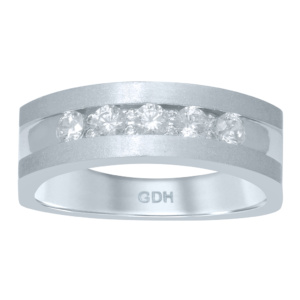 14K 0.47-0.51CT D-MACHINE BAND RING MENS RDS