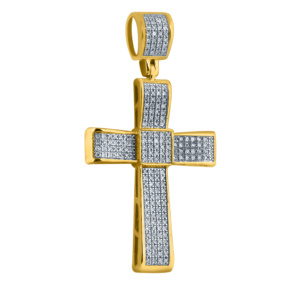 10K 0.38-0.49CT D-PENDANT RDS MICRO PAVE CROSS