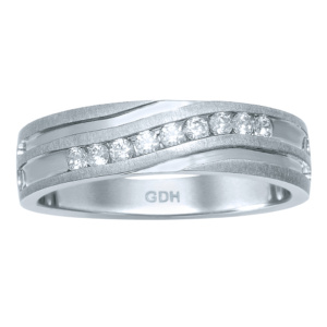 10K 0.24CT D-RING BAND MACHINE MENS RDS