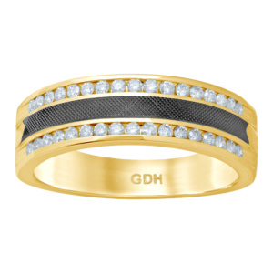 14K 0.49CT D-RING MACHINE BAND MENS RDS