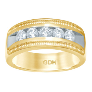 14K 0.96-0.98CT D-RING MACHINE BAND MENS RDS