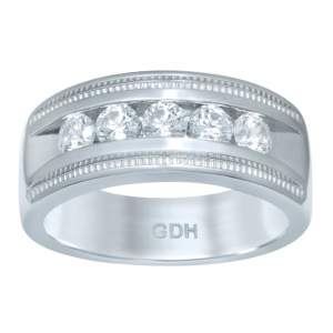 14K 0.96-1.03CT D-RING MACHINE BAND MENS RDS