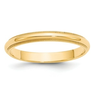 14k 3mm Milgrain Half-Round Wedding Band