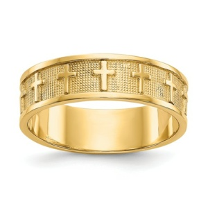 14k Polished And Satin Cross Band
