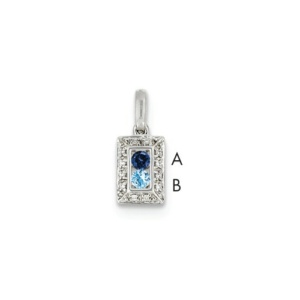 14K White Gold Family Jewelry Diamond Semi-Set Pendant