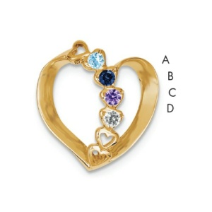 14k Polished 4-Stone Mothers Heart Slide Mounting