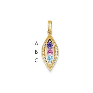 14K Family Jewelry Diamond Semi-Set Pendant
