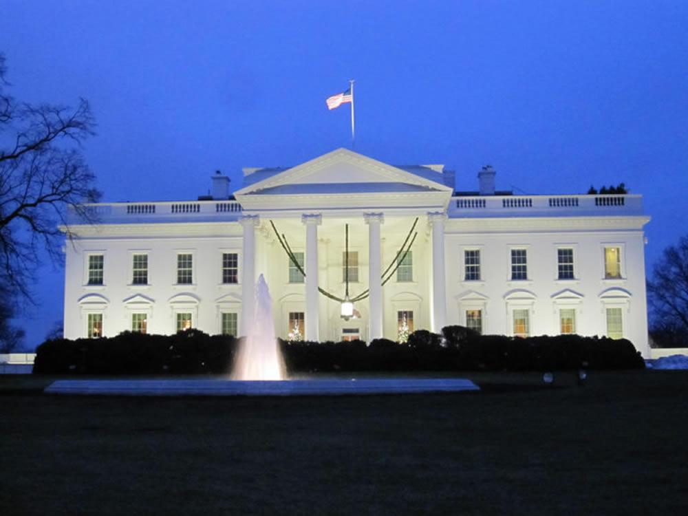 The White House in Washington DC the evening of the election results
