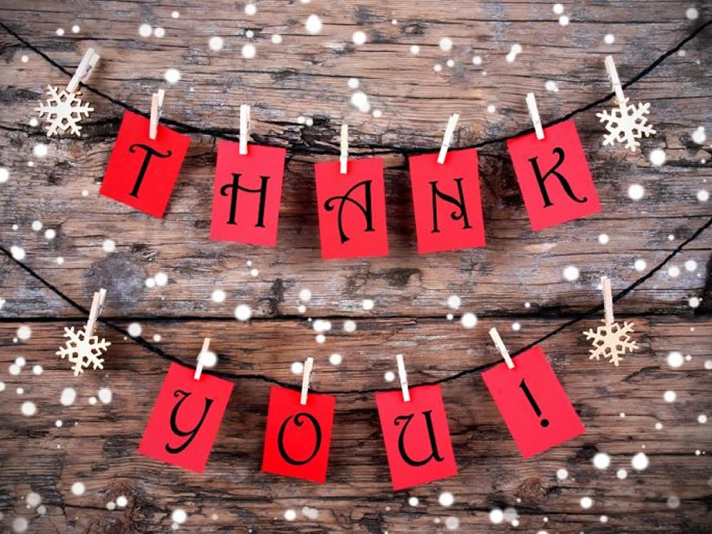 Paper 'Thank You' garland gives gratitude for gifts 2016
